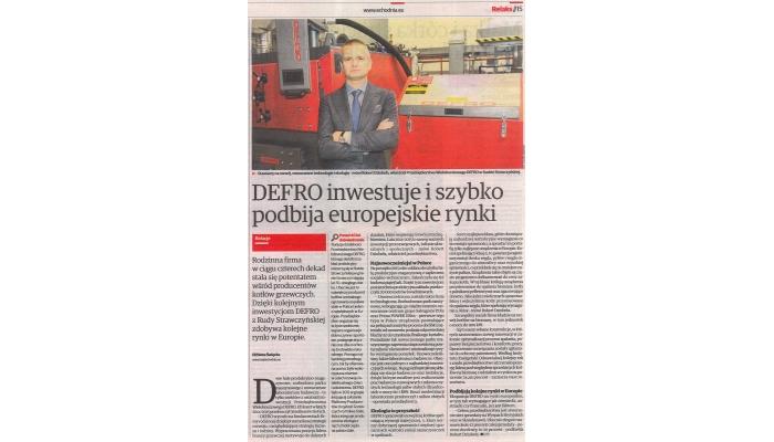 2015 Październik - Echo Dnia - DEFRO inwestuje i szybko podbija europejskie rynki
