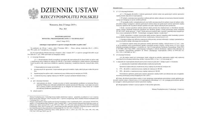 Rozporządzenie w sprawie wymagań dla kotłów na paliwo stałe