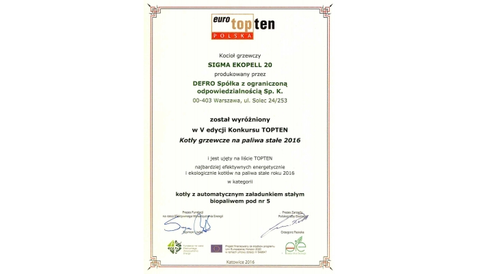 Euro TOPTEN Polska - Sigma EkoPell 20