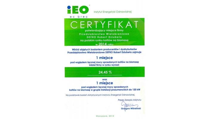 Certyfikat IEO - I miejsce