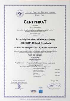 Certyfikat ISO DEFRO